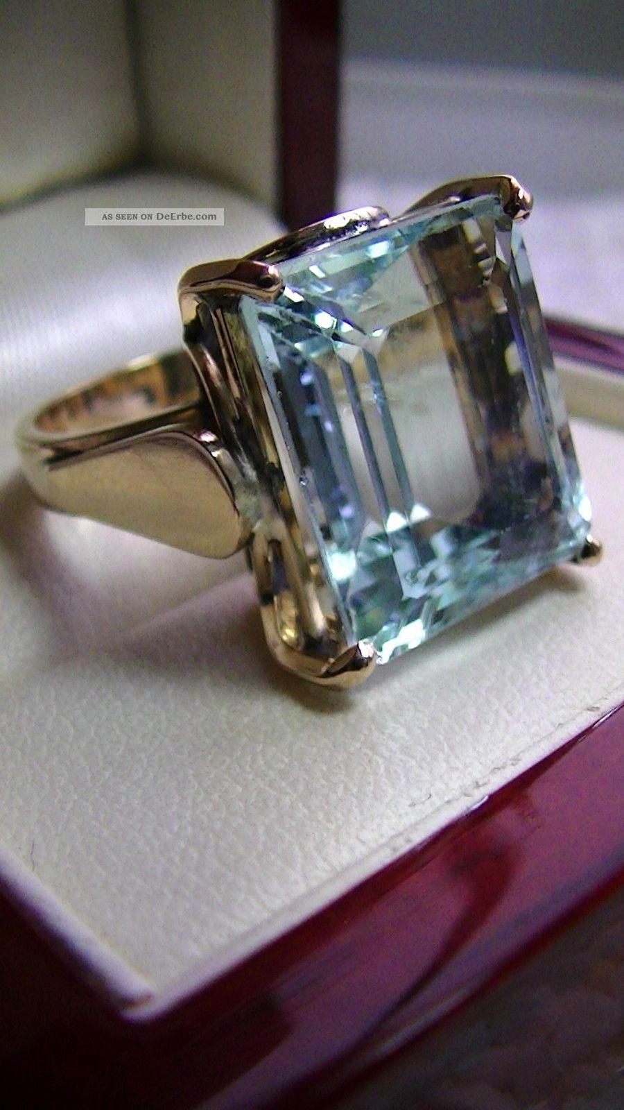 Aquamarin 11ct Ring Gro Massiv 585 Gold 9 4 Gramm  Handarbeit  Ca 18 X 14 5 Cm  1
