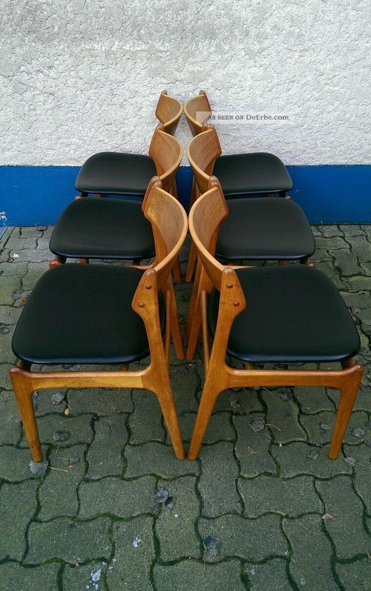 erik buck chairs ergonomic chair best buy 60s 60er jahre teak stuhl 6 dinner danish modern mid century