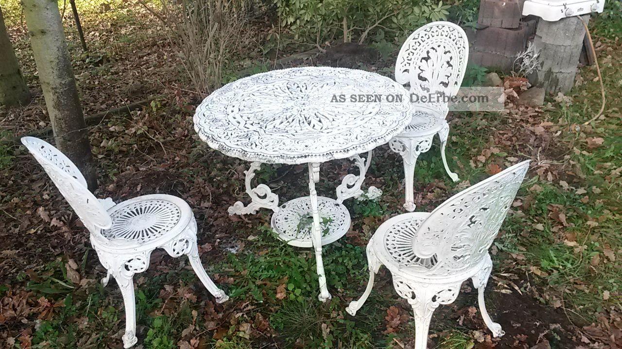 Garnitur Gartentisch 3 Stühle Weiss Eisen Gartenmöbel