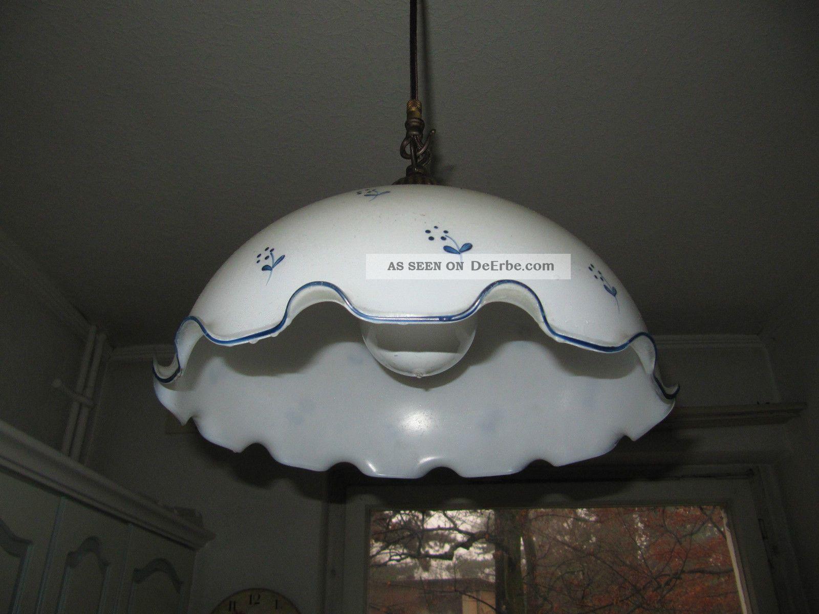 Alte Hngelampe Kchenlampe Glasschirm Wei Mit Blauen Blmchen Landhaus Vintage