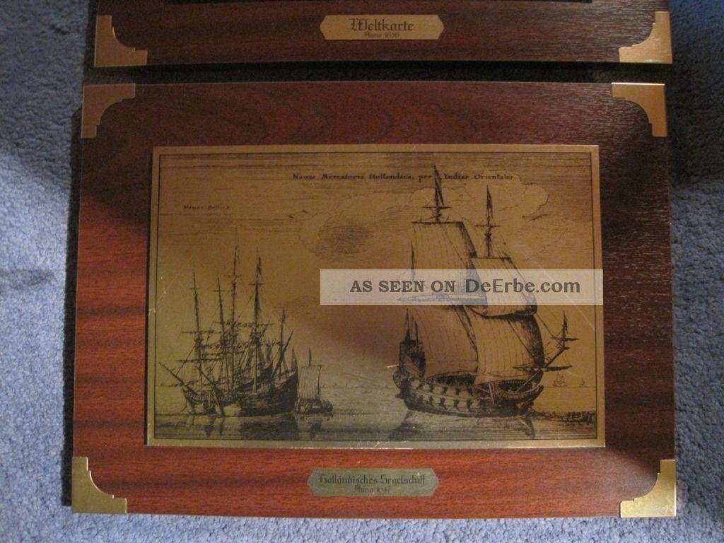 Maritime Dekoration 2 Maritime Bilder Messingbild Messingstich Weltkarte Segler