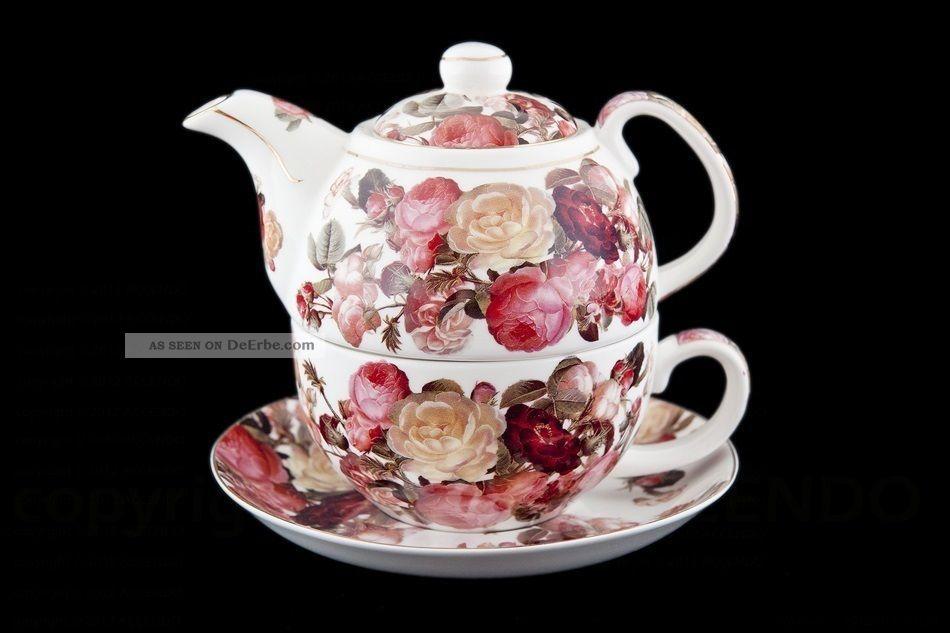Tea For One Rote Rosen Porzellan Geschenk Blumen Tee Geschirr Tasse Knnchen