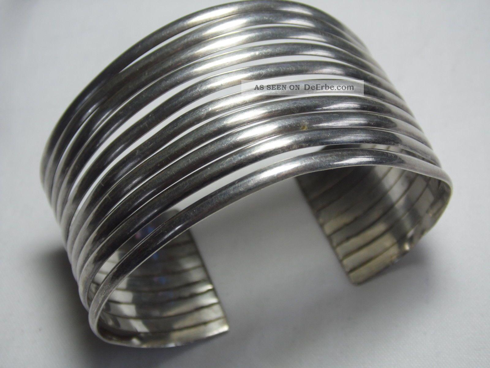 Art_deco 925er Silber Armreif Breiter Armreif Massiv43