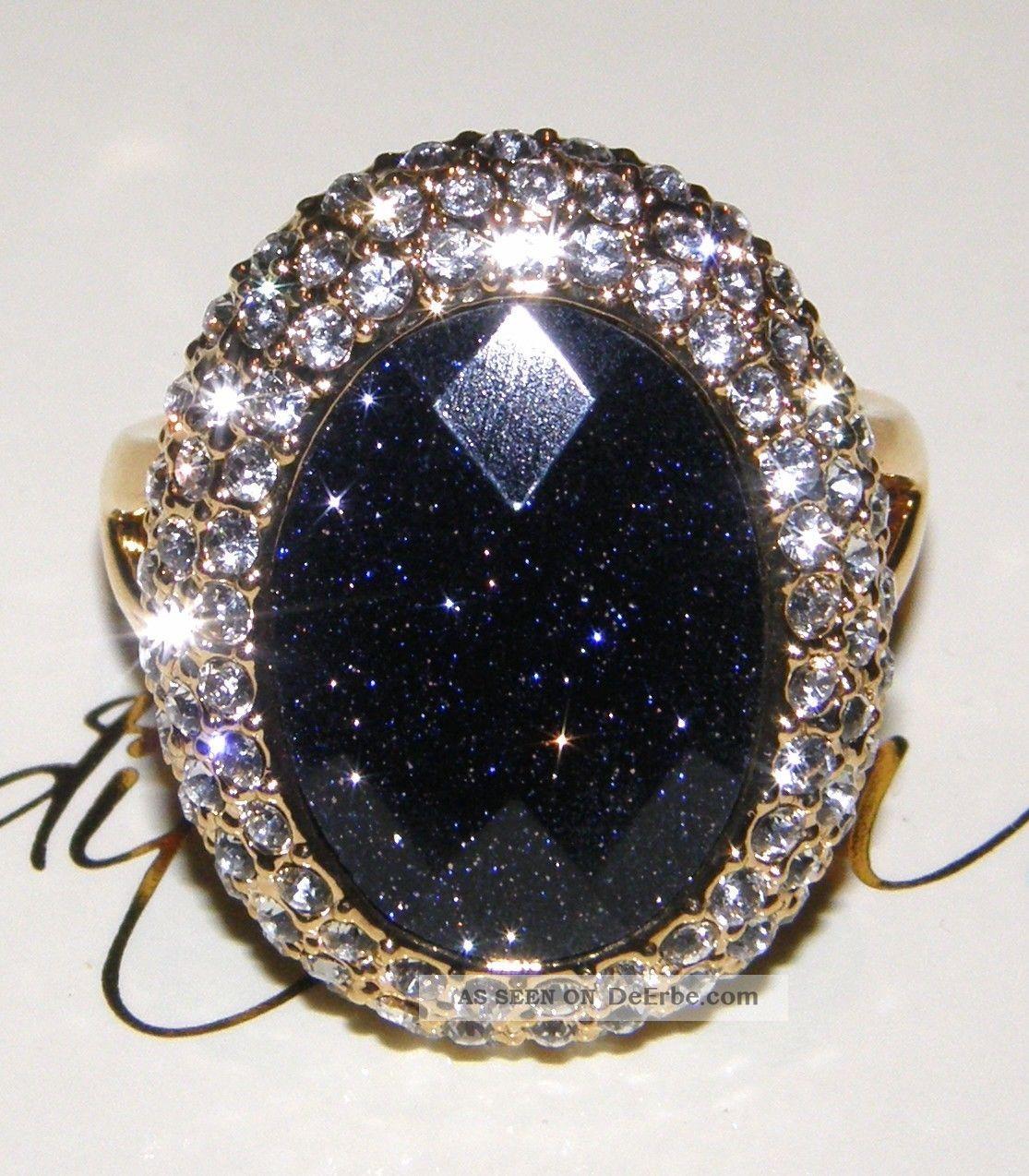 Traumhafter Judith Williams Ring Verg Mit Blaufluss  Kristallen Gr 57 18 1mm