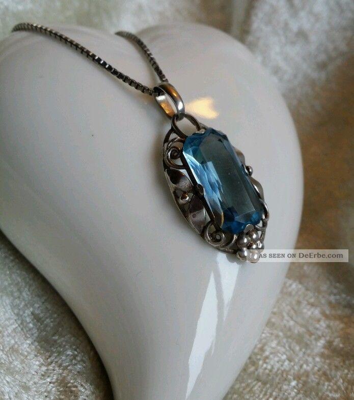 Art Deco Silber Kette 55cm  Anhnger Aquamarin Blauen