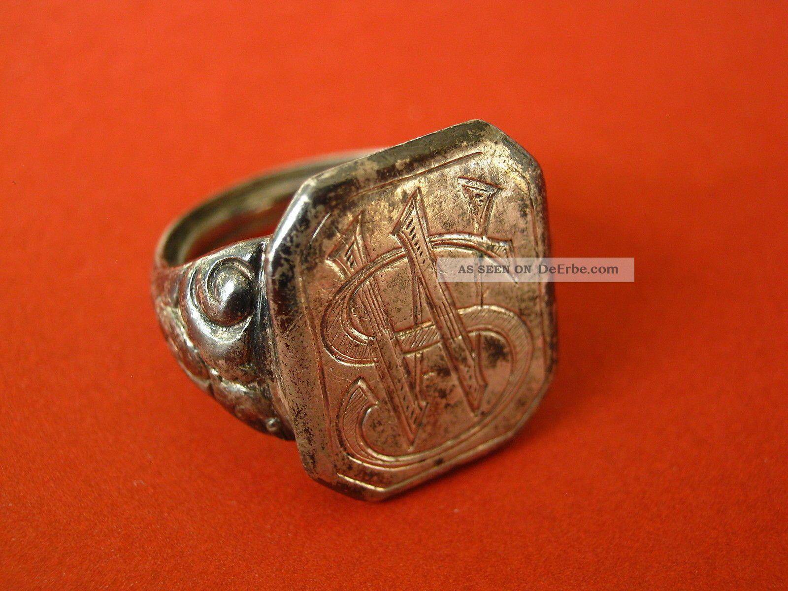 Antiker Ring Herrenring Siegelring Mit Monogramm Silber