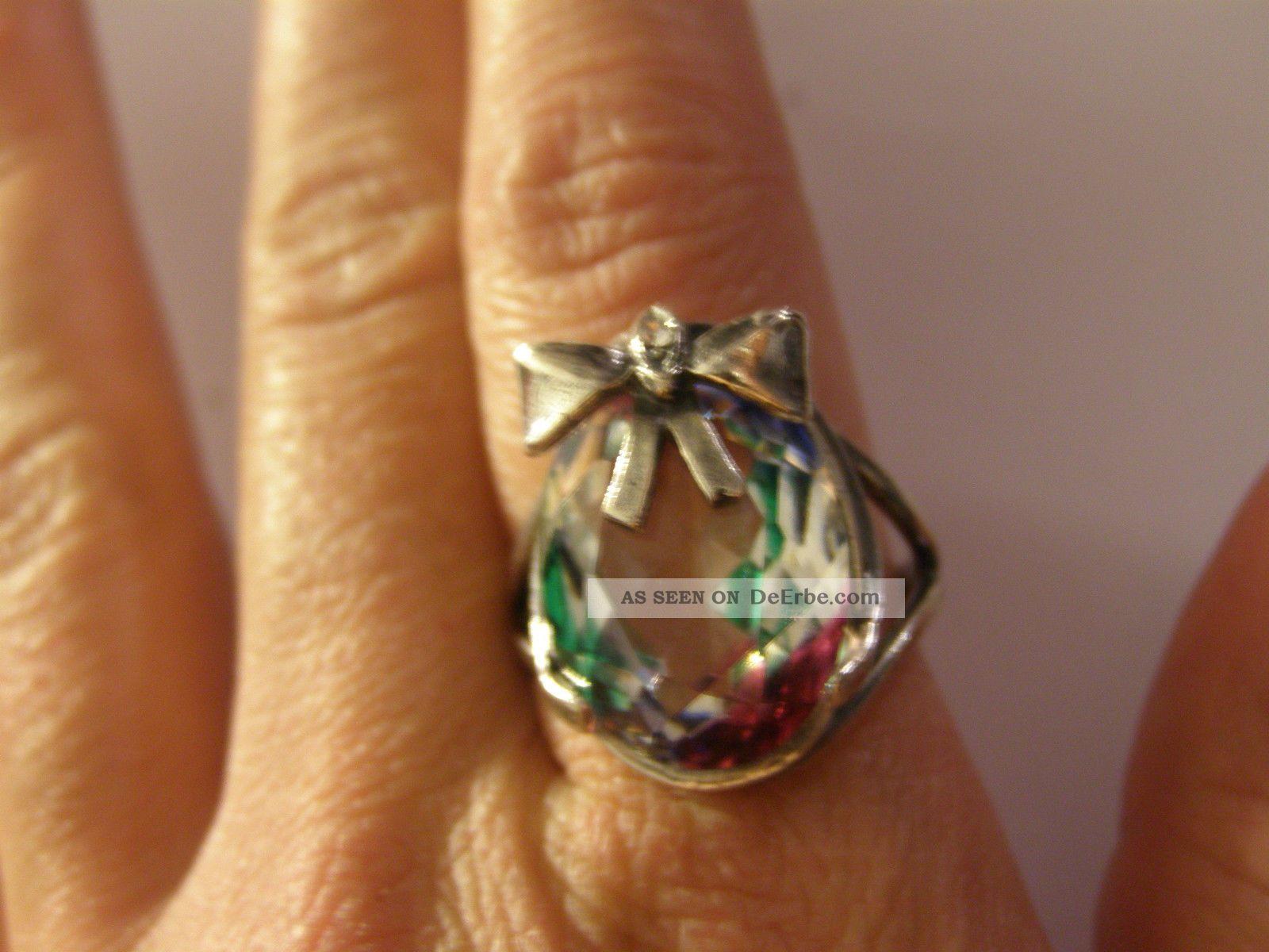 Wunderschner Ring 925 Er Silber Mit Riesen Rheinkiesel