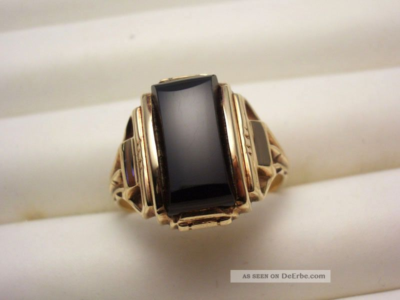 Art Deco 10k 416 Gold Ring Herrenring Mit Onyx Von Lgb 20