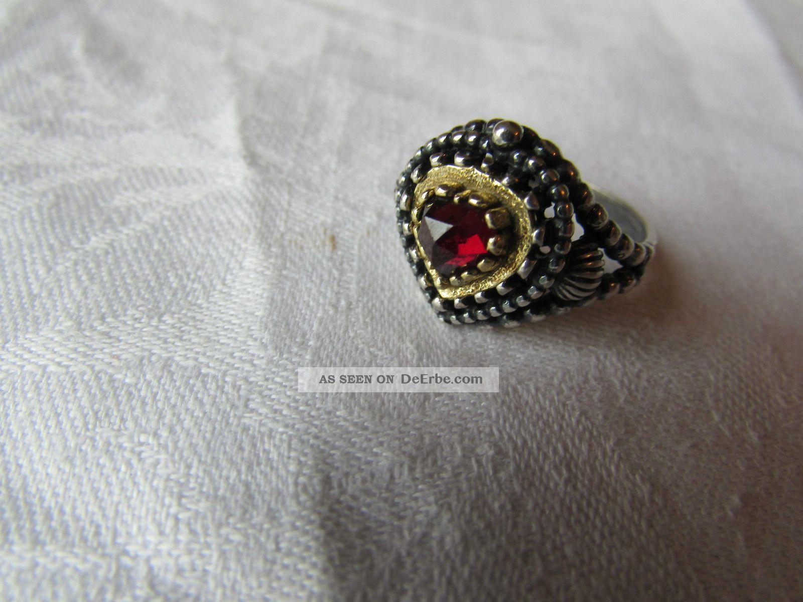 Alter Ring Silber 835 Granat Silberring Trachtenschmuck Antik Nachla