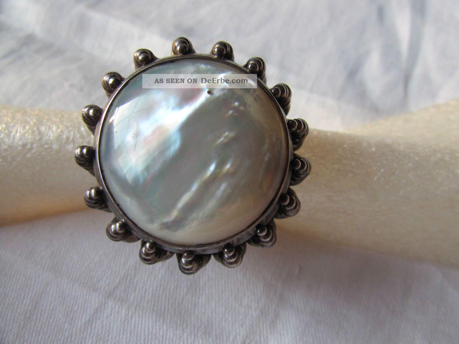 Alter Ring Silber 925 Perlmutt Opal Massiv Schwer Gro