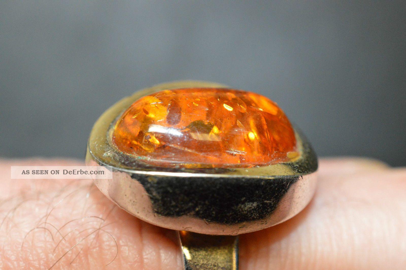 Alter Antik Ring Mit Bernstein 835 Silber Ringgre 58 Cabochon