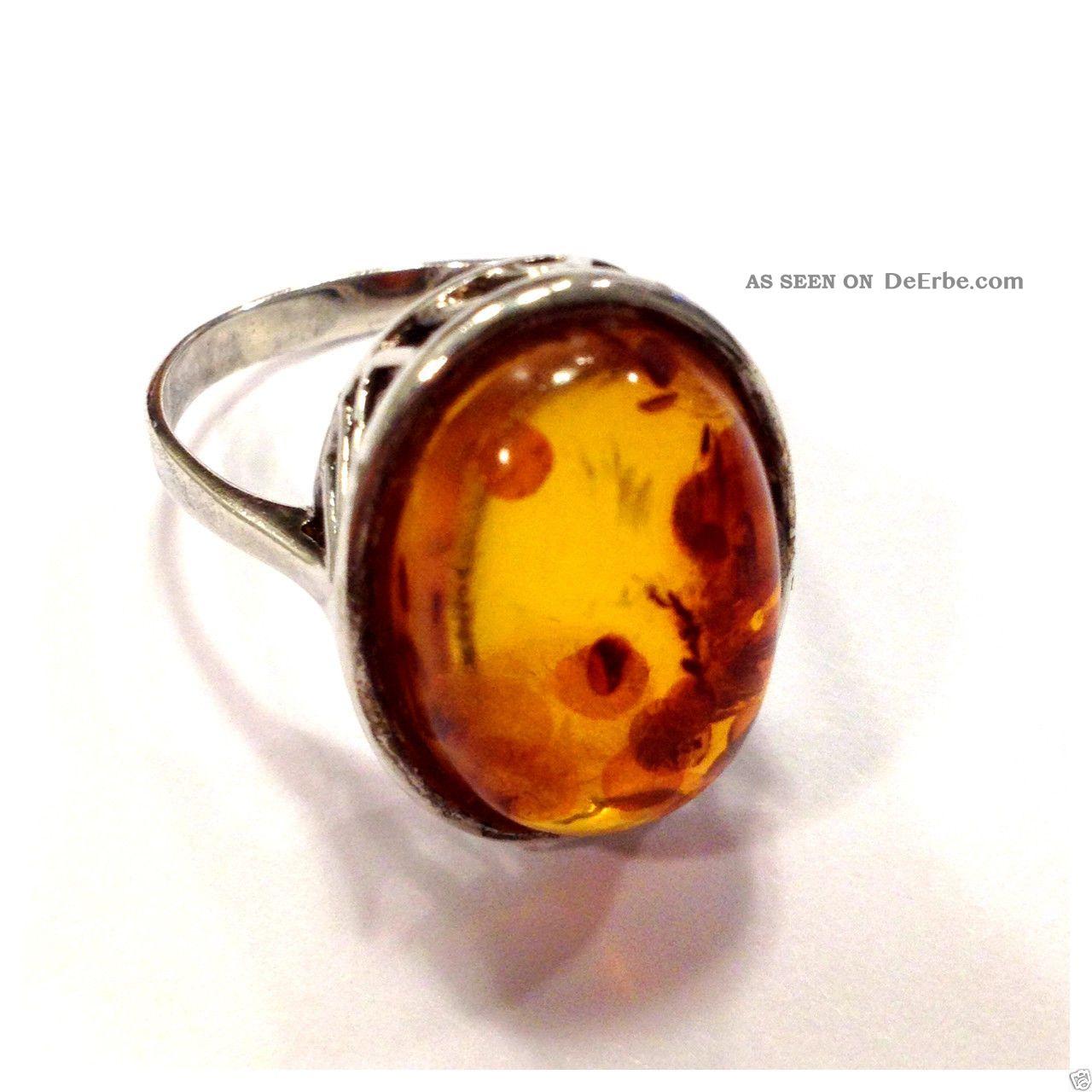 Bernsteinring Silberring 925 Er Silber Ovaler Bernstein Ring