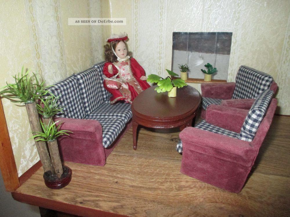 Komplettes Puppenstuben Mbel Wohnzimmer Mit Kamin Und 2 Pflanzen 112
