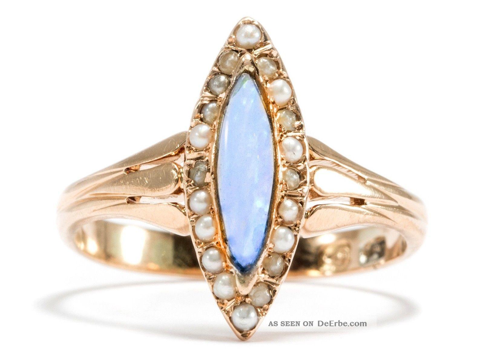 Antiker Marquise Ring In 585 Gold Opal  Perlen Jugendstil Hannover Steinwehr