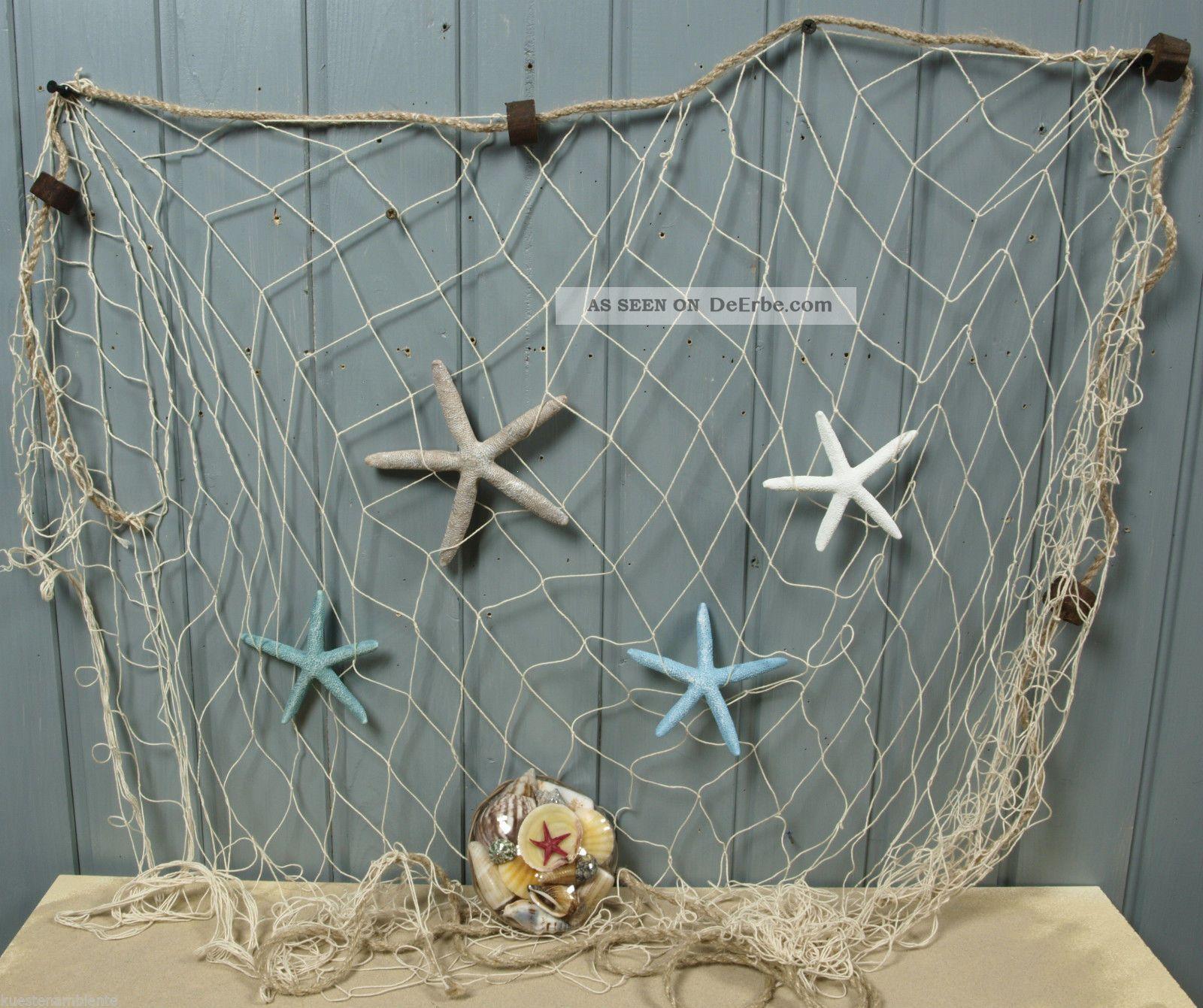 Fischernetz 1 5x1m Beige Mit 4 Poly Seesternen U