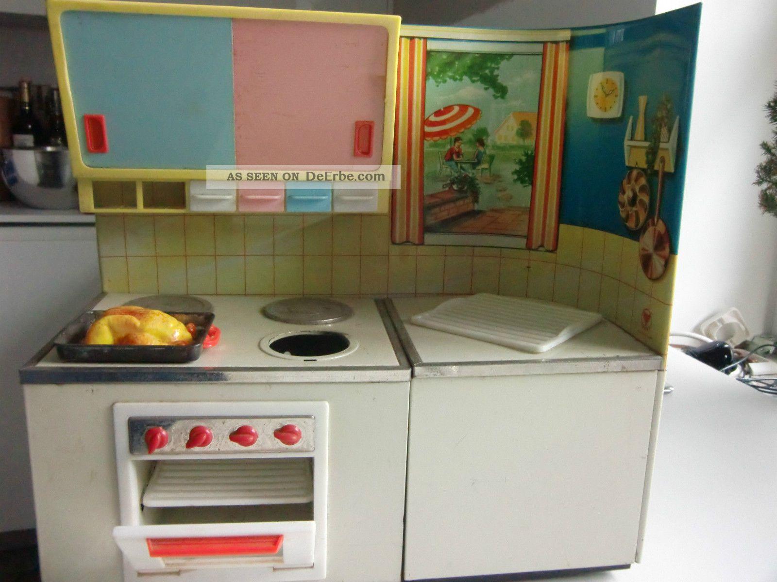 Blechspielzeug Küchenzeile Küche Puppenküche 60er Jahre, Fuchs Antik