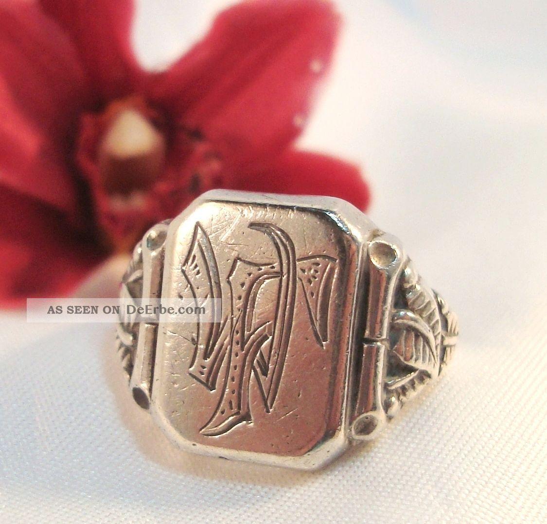 Alter Siegelring Aus 835 Er Silber Mit Monogram Wf  Fw Ring  Af 899