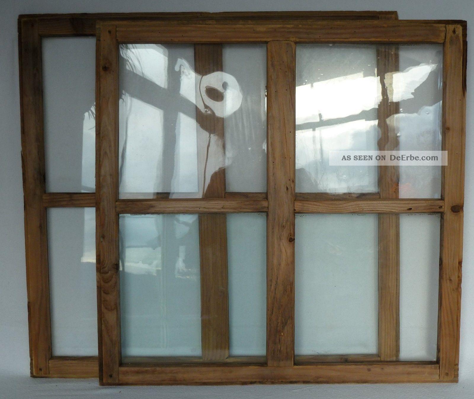 Alte Fenster Holzfenster Mit Sprossen 2 Stück