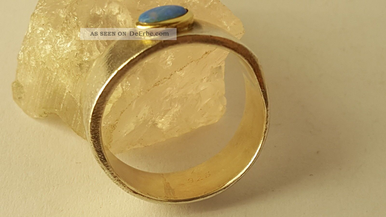 Damen Ring Silber 925  Gold 585 Vintage Handarbeit Mit Blau Stein Top