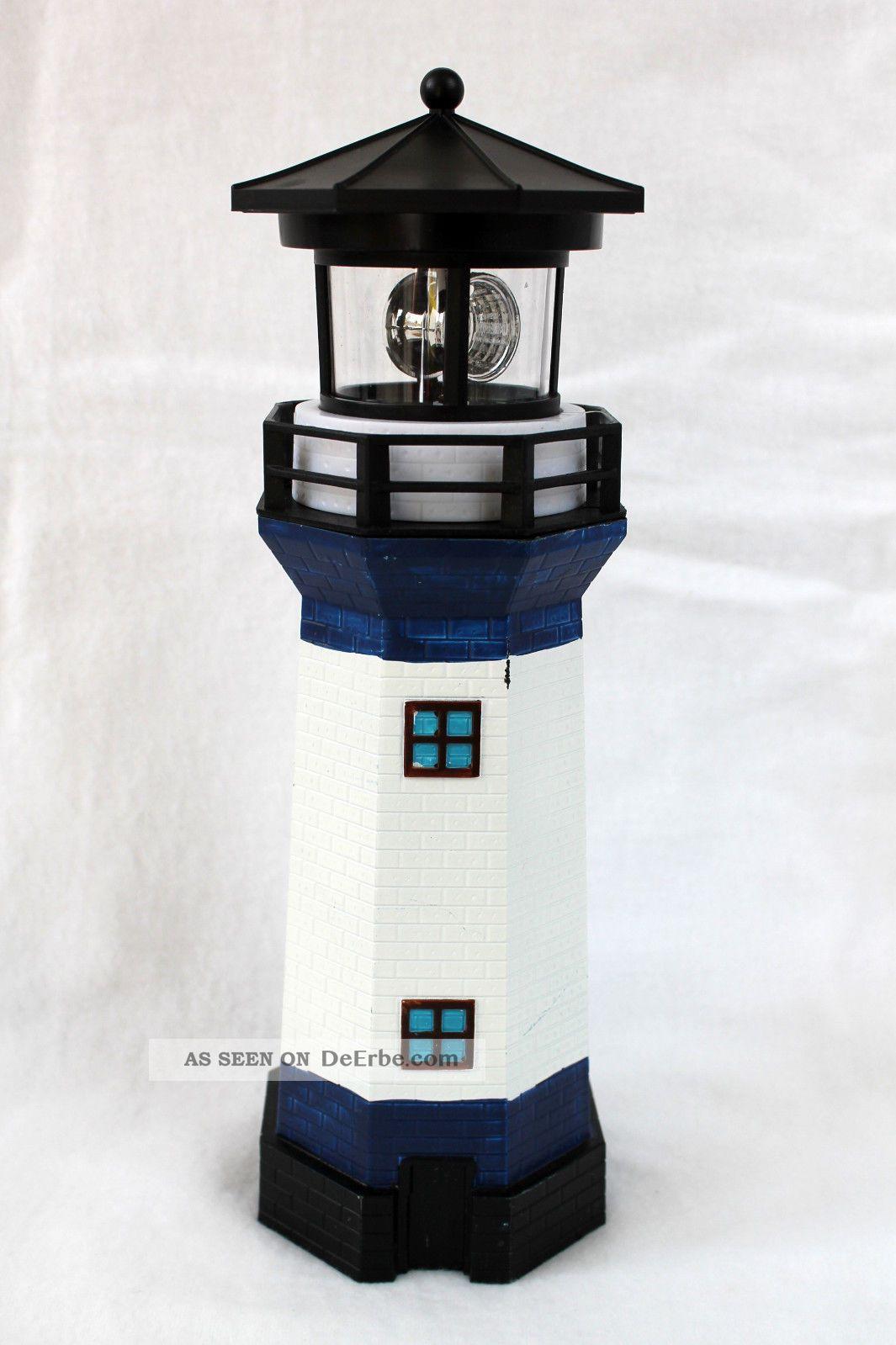 Solar Leuchtturm Blau  Weiss Rotierendes Led  Licht 28 Cm