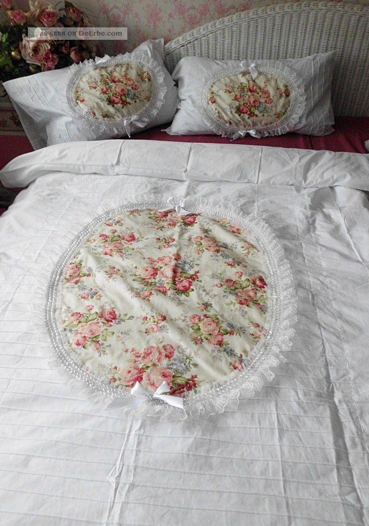 Eine 4  Teilige Bettwsche Rosenmedaillon Shabby Chic Vintage Landhaus