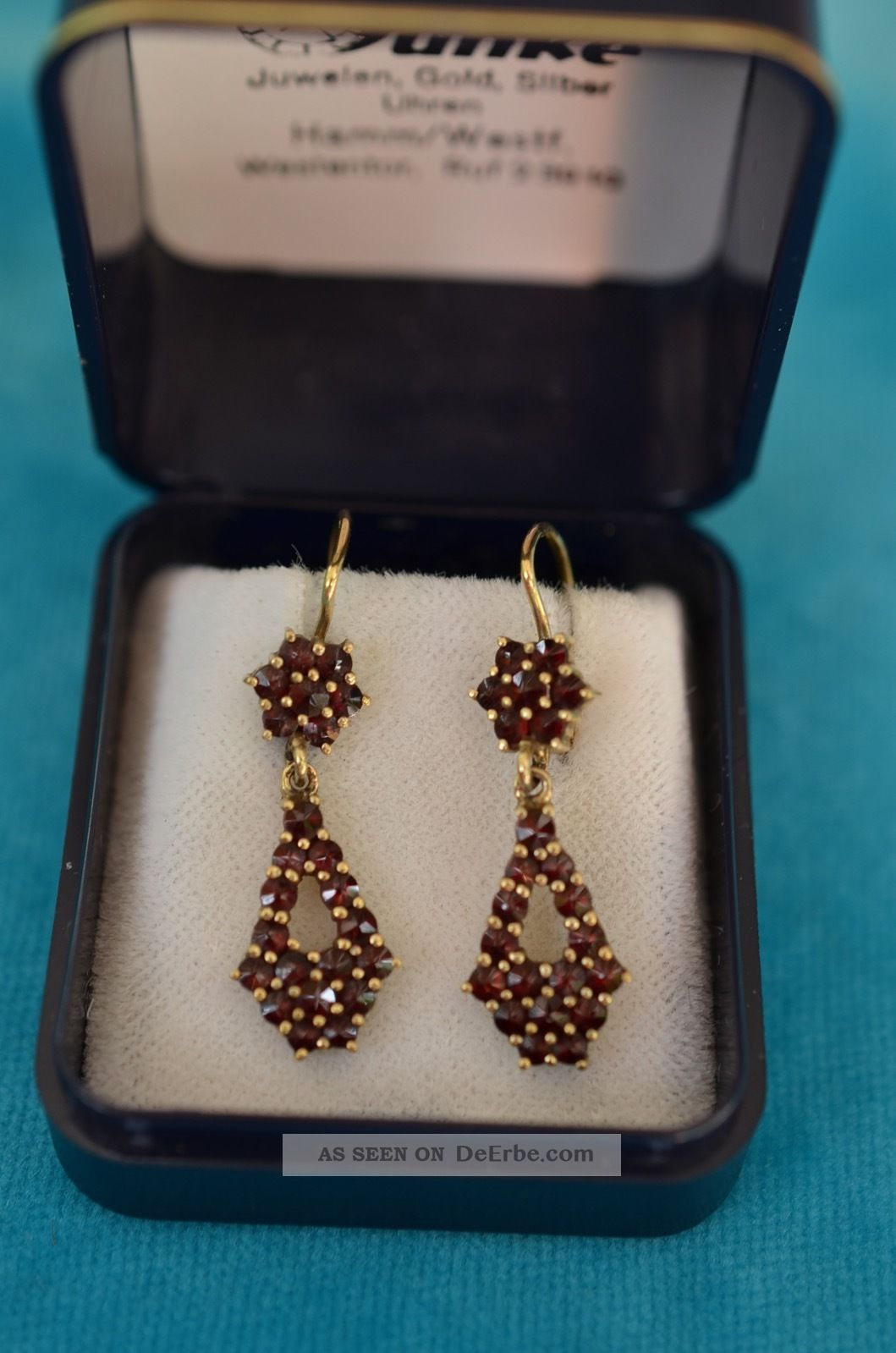 Schne Ausgefallene Granat Ohrringe Ohrschmuck Silber 900 Vergoldet