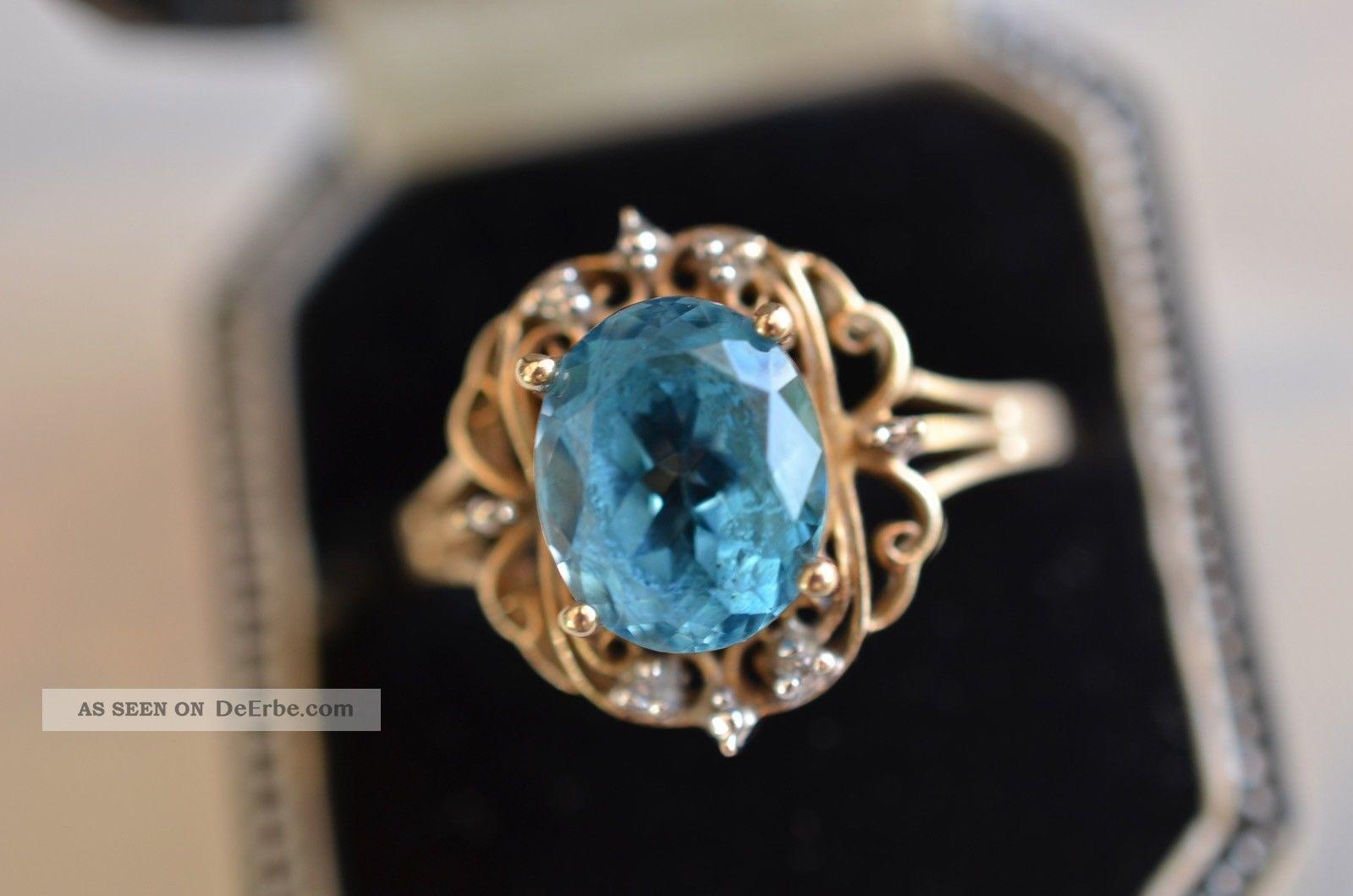 Schner Alter Damenring Mit Stein Und Kleinen Diamanten Gold 375