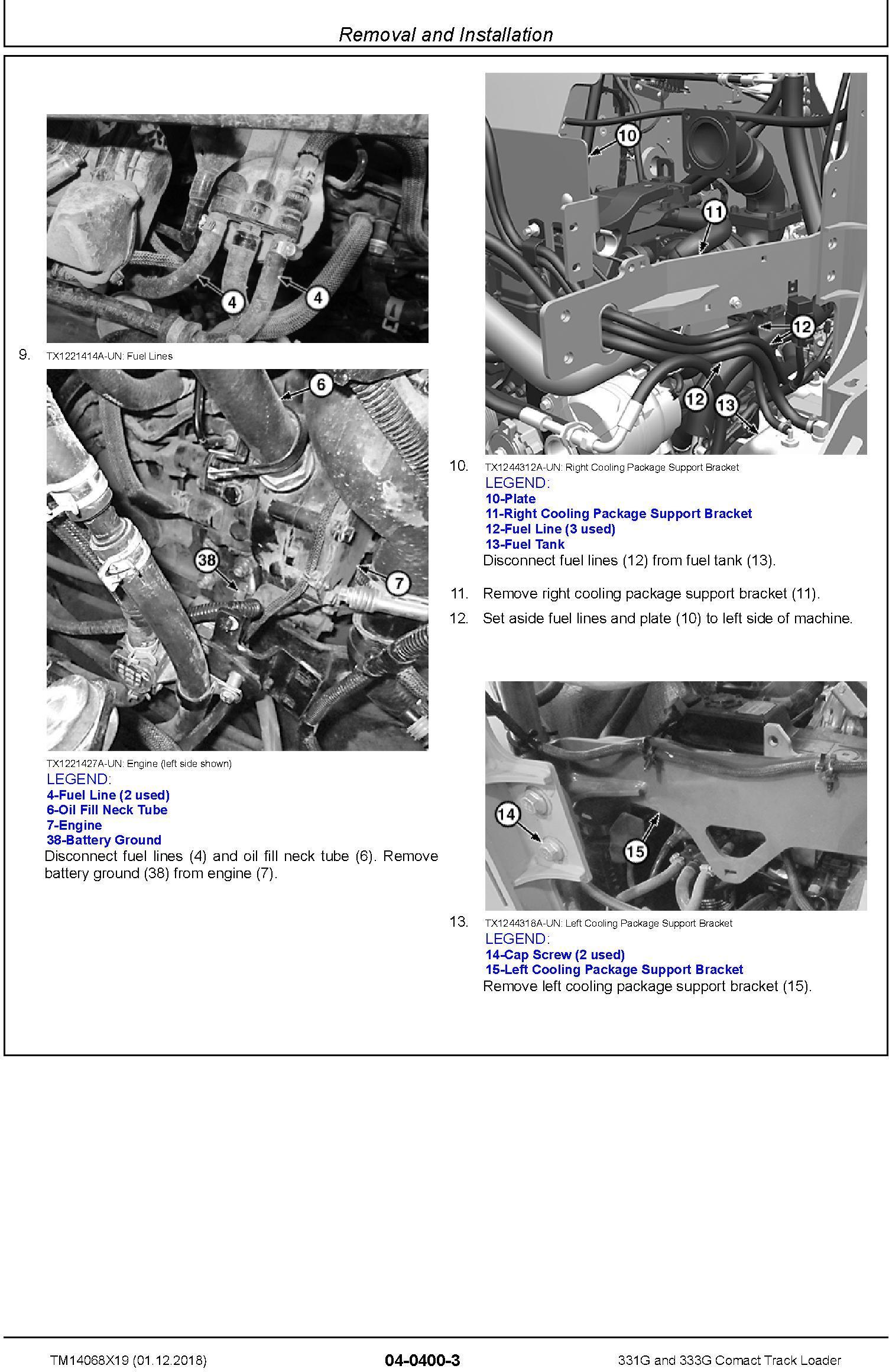 John Deere 331G and 333G Comact Track Loader Repair