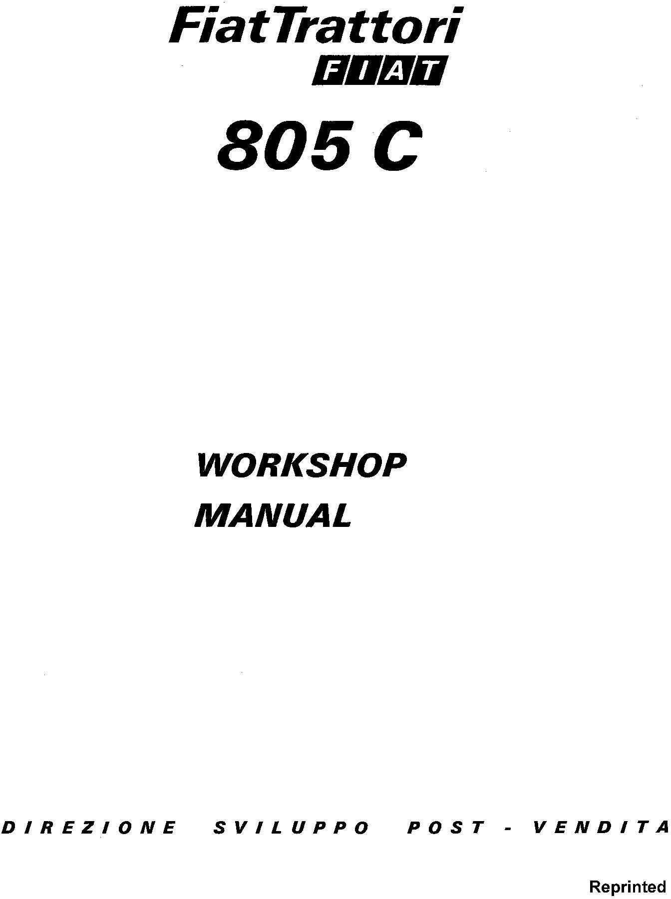 Fiat 805C Crawler Tractors Workshop Service Manual / Deere