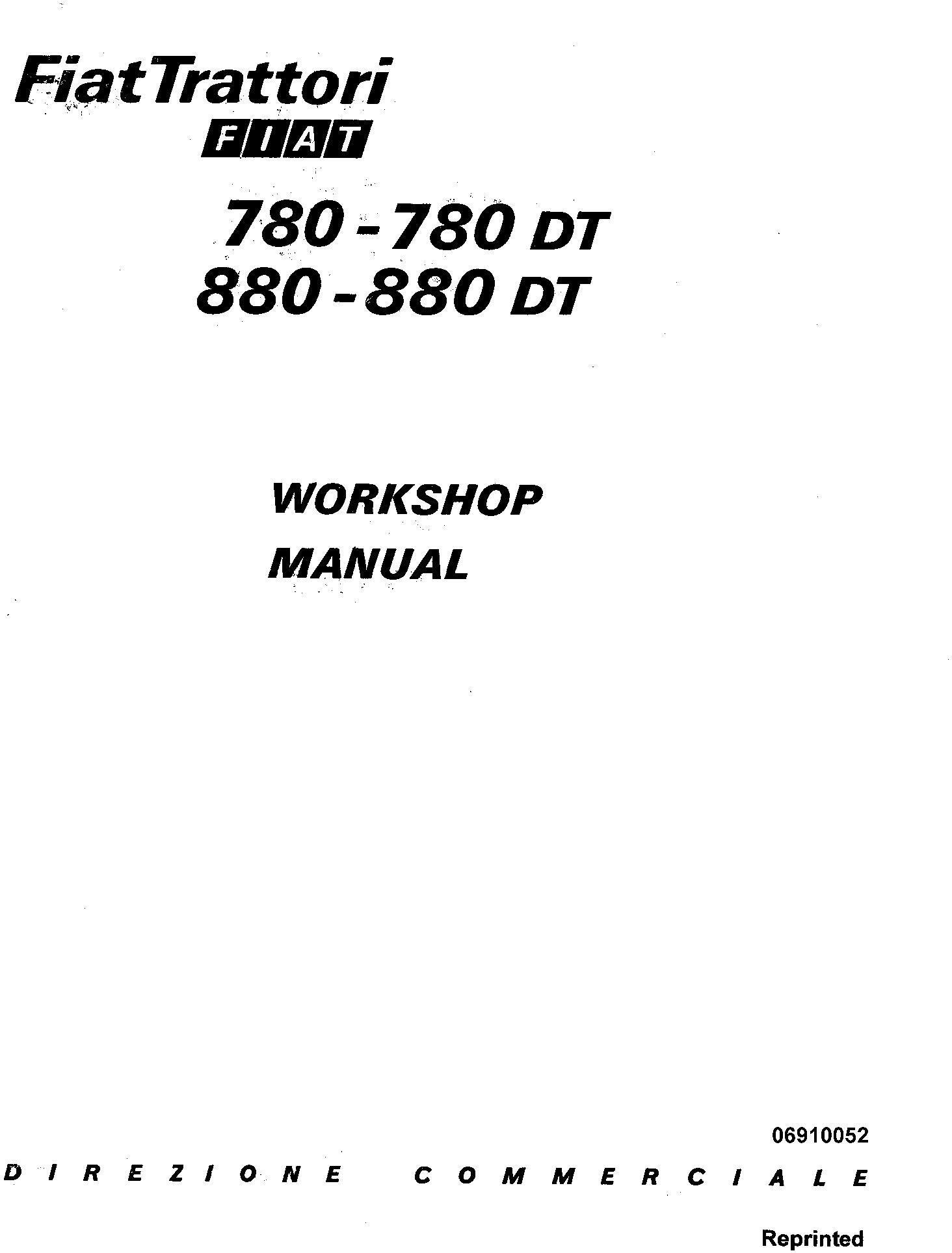 Fiat 780, 780DT, 880, 880DT Tractor Workshop Service