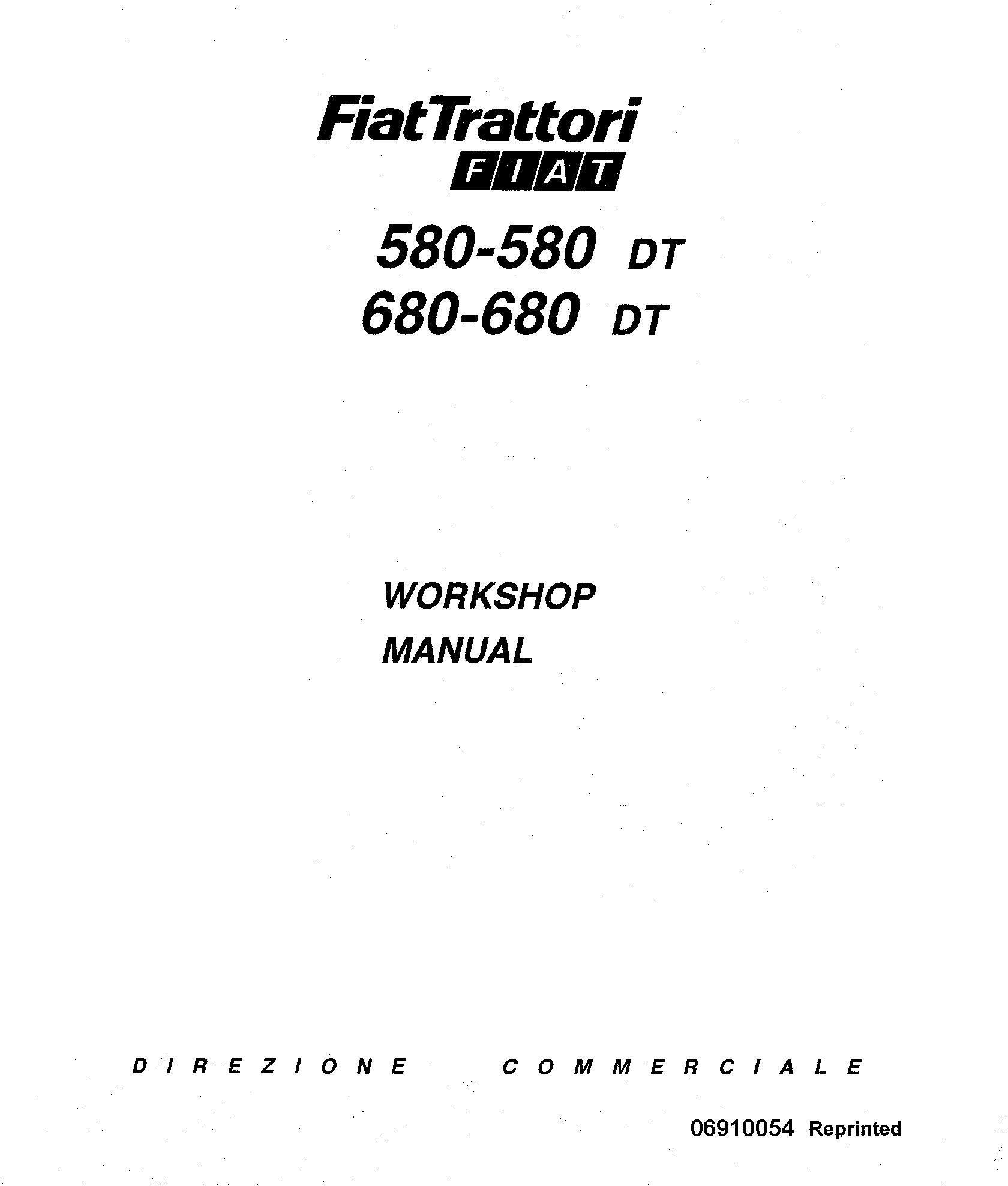 Fiat Low 580, 580DT, 680, 680DT Series Tractors Workshop