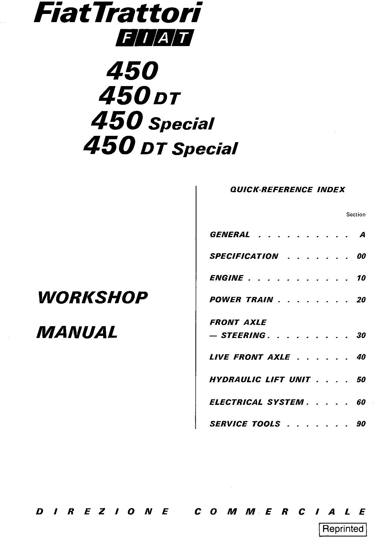 Fiat 450, 450S, 450 DT, 450 DTS Tractor Service Manual