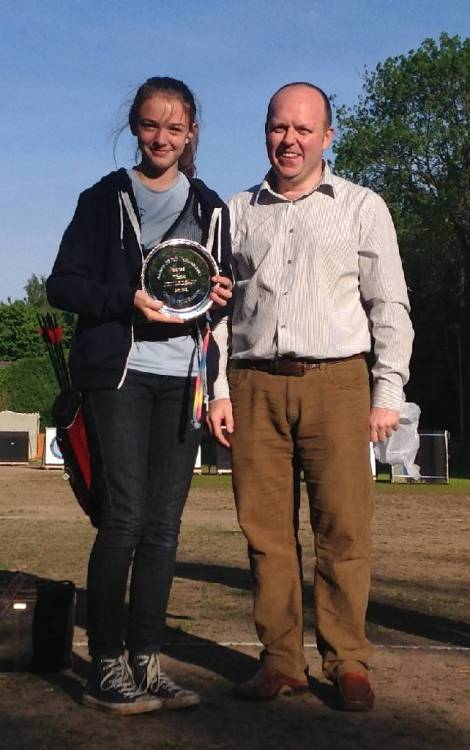 Nicole Deasy receiving her July National Winners Salver from Arran Coggan.