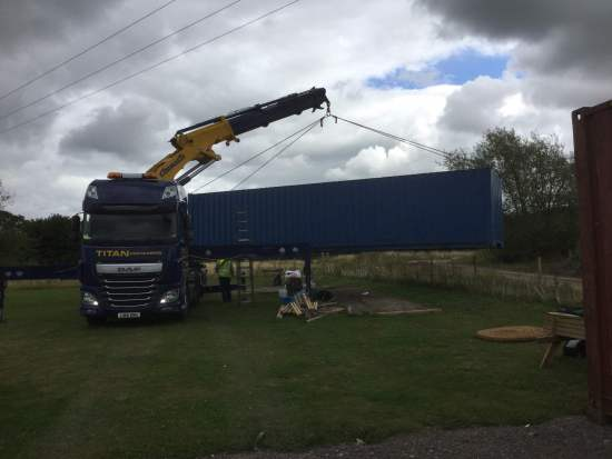 40ft Equipment Container being re-sited. Can we thank Titan Containers for their excellent support.