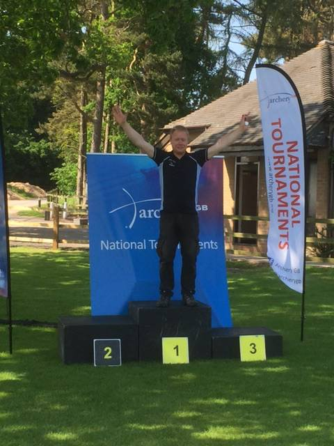John Dalton, well earned Masters Title earlier this year, now 5th in the British Barebow Championships.