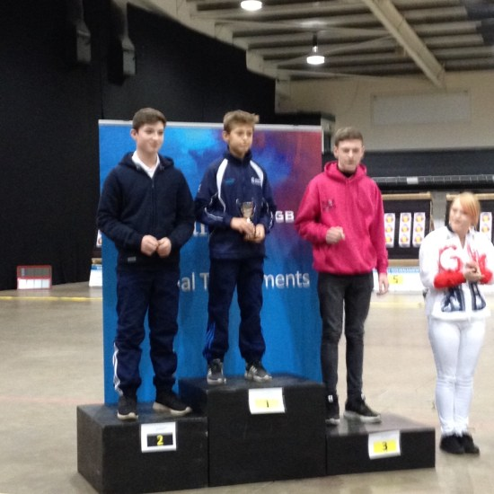 Riley Spencer-Nice (Centre) another great weekend of shooting and all his hard work rewarded. British U14 Recurve Champion.
