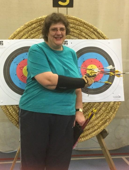 Lynn Benfield won the Cheltenham archers Summer Shoot Longbow