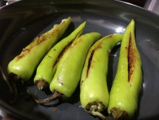 Stuffed green chilies