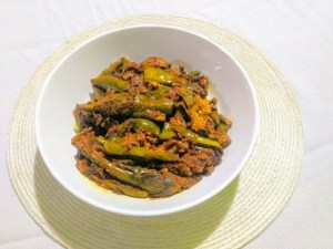 Stuffed green masala brinjal