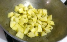 Cook potatoes for a minute or two..