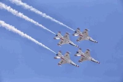 Four Air Force Thunderbird F-16s Flying Downward