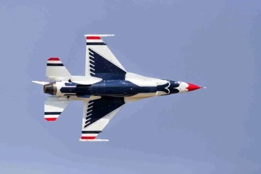 Underbelly of an Air Force Thunderbird F-16