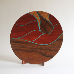 Hawaiian Rain Platter - koa, paduak, & maple with translucent details & koa stand