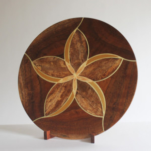 Plumeria Platter - koa, mango, & yellowheart with translucent details and koa stand