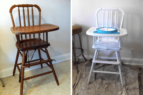 vintage wood high chair and 1 2 slipcovers before after dee wilcox chris i have refinished old furniture but really wanted to get this right so followed tutorial from the frugal girl mostly anyway