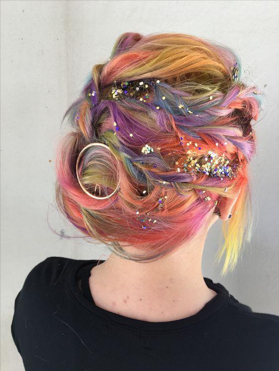 блестки на волосах
