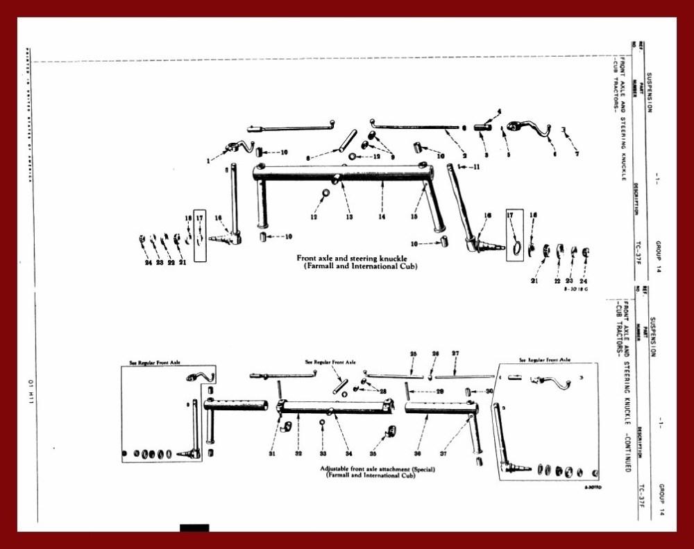 medium resolution of farmall cub front axle diagram