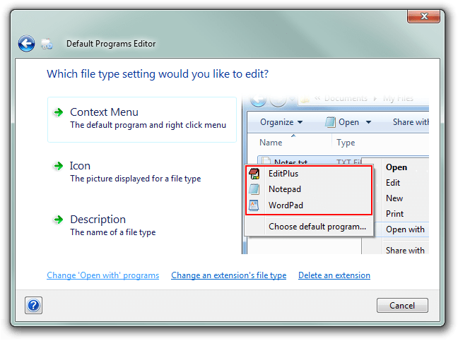 Default Programs Editor: File Types page