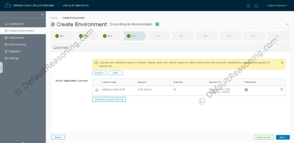 Automated deployment of vRealize Suite in VCF 4.1 - Create Environment - Add License