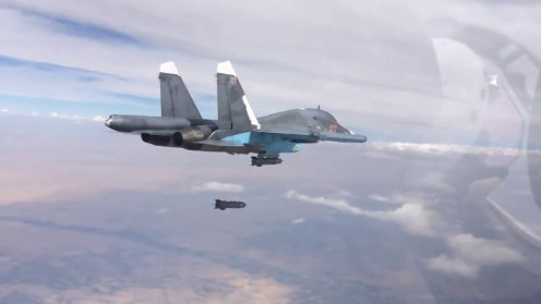 A Su-34 drops a KAB-500S satellite guided bomb
